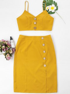 Buttoned Cami Top And Pencil Skirt Set - Mustard L
