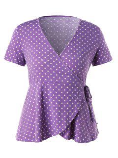 Plus Size Polka Dot Wrap Tee - Purple Flower L