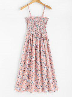 Floral Print Smocked Cami Midi Dress - Light Pink