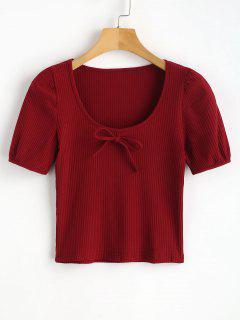 T-shirt Tricoté Et à Nervure - Rouge Vineux