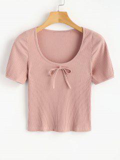 T-shirt Tricoté Et à Nervure - Chewing-gum Rose