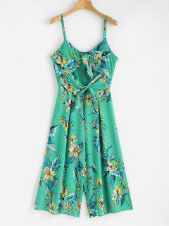 Floral Print Knots Cami Jumpsuit - Clover Green L