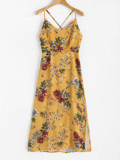 Robe Longue Fluide à Fleurs - Moutarde  L