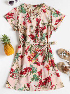 Floral Print Plunging Neck Dress - Light Pink M