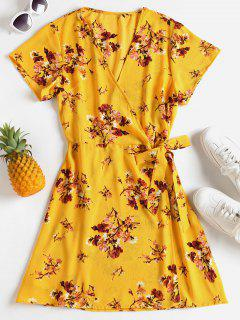 Floral Print Plunging Neck Dress - Rubber Ducky Yellow S