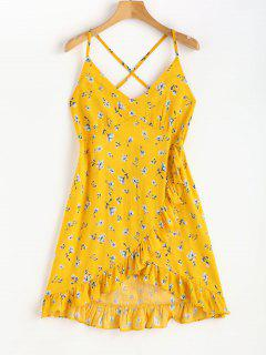Faux Wrap Floral Print Strappy Mini Dress - Sun Yellow M