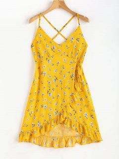 Faux Wrap Floral Print Strappy Mini Dress - Sun Yellow L