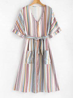 Patch Pockets Striped Button Up Midi Dress - Multi M