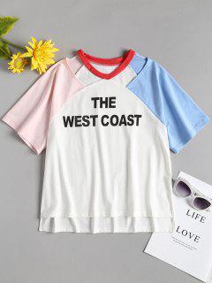 Raglan Ärmel Ausgeschnittenes T-Shirt - Weiß S