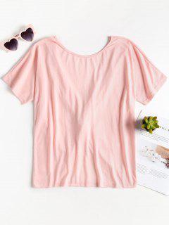Raglan Sleeve Twist Top - Pink Bubblegum S