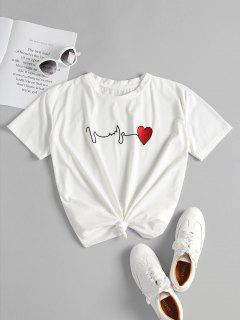 Knotted Heart Embroidered Tee - White L