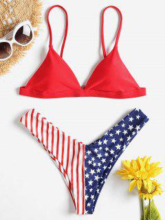 Conjunto De Bikini De Bandera Americana - Amo Rojo L
