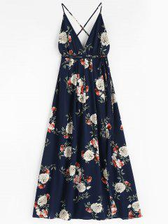 Floral Print Backless Maxi Dress - Midnight Blue M