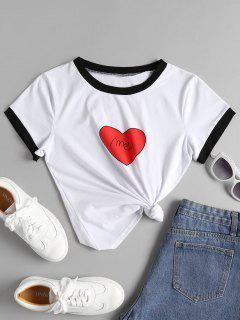 Heart Me Graphic Ringer T Shirt - White M