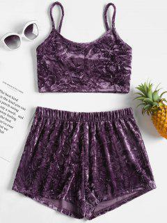 Crushed Velvet Cami Top Shorts Matching Set - Viola Purple M