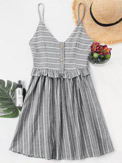 Ruffle Trim Striped Cami Dress - Light Gray M