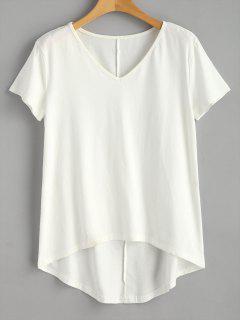 T-shirt à Ourlet En Courbe Et Encolure En V  - Blanc L
