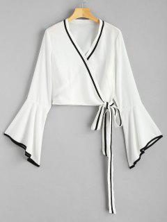 Flare Sleeve Wrap Blouse - White M