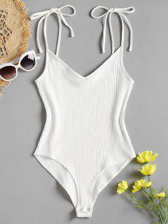 Tie Straps High Cut Bodysuit - White S