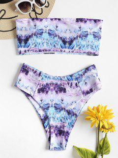 Tie Dye High Waisted Bandeau Bikini Set - Multi S