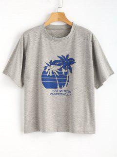 Palm Tree Heathered Oversized Graphic Tee - Gray Cloud M