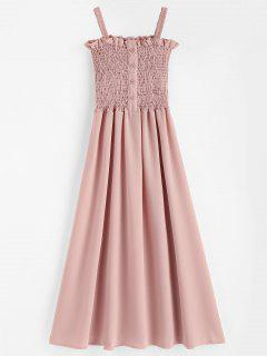 Buttoned Smocked Bodice Midi Sundress - Pink Bubblegum