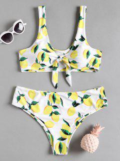 Lemon Print Plus Size Bikini Set - White 2xl