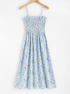 Floral Print Smocked Cami Midi Dress - Light Sky Blue