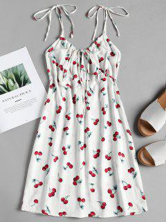 Cherry Print Mini A Line Sun Dress - White M