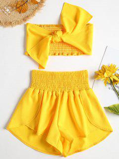 Tie Front Bandeau Top Shorts Two Piece Set - Yellow S