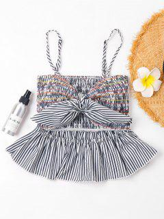 Smocked Striped Cami Top - Gray Cloud S