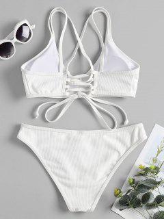Cross Back Lace Up Bikini Set - White L
