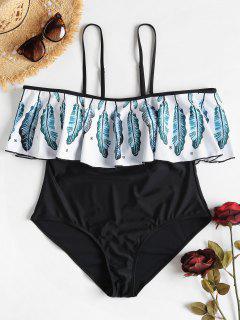 Leaf Flounce Off Shoulder Plus Size Swimsuit - Blue Jay 2x