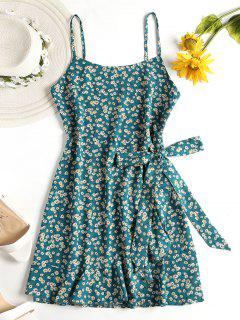 Floral Faux Wrap Cami Mini Dress - Light Sea Green L