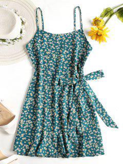 Mini Vestido Floral De Imitación Del Abrigo Cami - Verde De Mar Ligero L