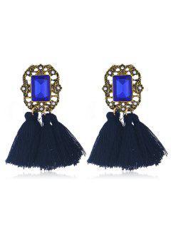 Statement Handmade Tassel Dangle Drop Earrings - Blue