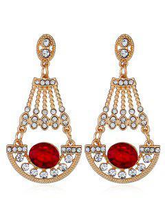Brillantes Diamantes De Imitación De Diamantes De Imitación Cuelga Los Pendientes - Rojo