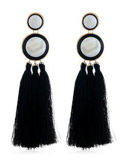Boho Round Long Tassel Dangle Earrings - Black