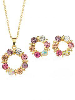 Rhinestone Plated Chain Hanging Necklace With Stud Earrings - Multi