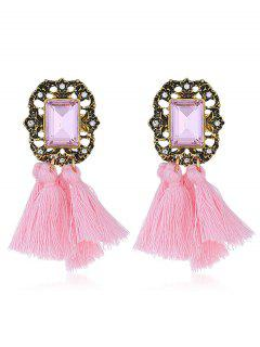Statement Handmade Tassel Dangle Drop Earrings - Pink