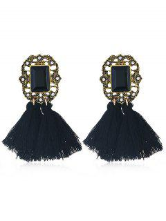 Statement Handmade Tassel Dangle Drop Earrings - Black