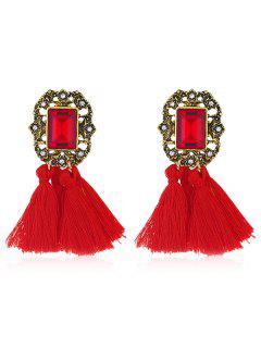 Statement Handmade Tassel Dangle Drop Earrings - Red
