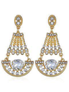 Shiny Rhinestone Faux Gem Dangle Earrings - White
