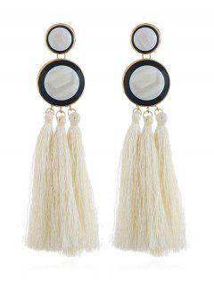 Boho Round Long Tassel Dangle Earrings - White