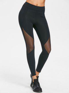 Mesh Panel Sporty Leggings - Black M