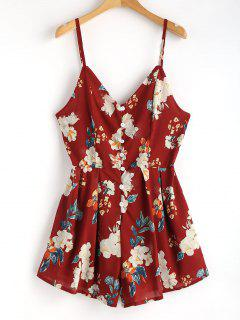 Floral Print Cami Buttoned Playsuit - Red Wine S