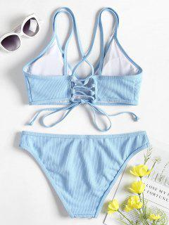 Cross Back Lace Up Bikini Set - Light Sky Blue M