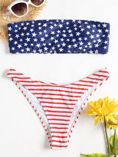 American Flag Bandeau Bikini Set - Love Red L