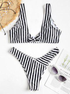 Front Knot Striped Bikini Set - Black M