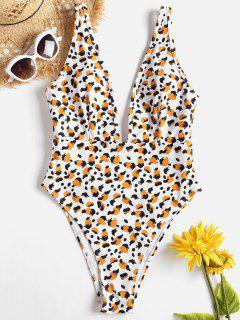 High Cut Patterned Plunge Swimwear - White L